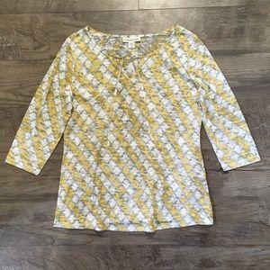 Coldwater Creek Shirt Tee Burnout Yellow M 10 12
